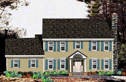 Colonial Style Home Design Plan: 43-208