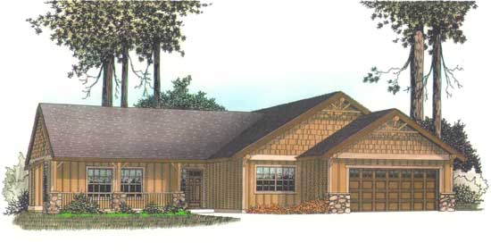 Craftsman Style Home Design Plan: 44-105