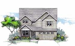 Craftsman Style Home Design Plan: 44-473