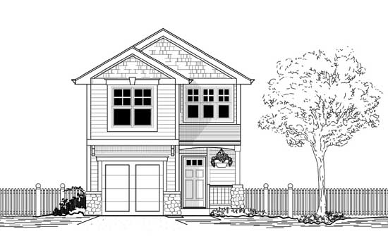 Craftsman Style Home Design Plan: 44-476