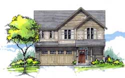 Northwest Style Home Design Plan: 44-484