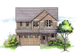 Northwest Style Home Design Plan: 44-487