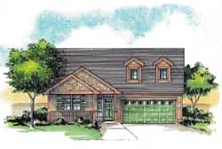 Country Style Home Design Plan: 44-503