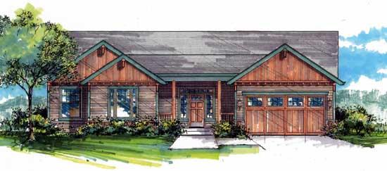 Craftsman Style Home Design Plan: 44-510