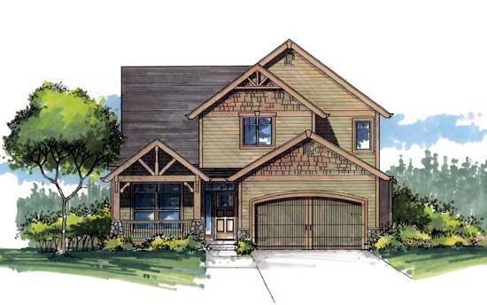 Craftsman Style Home Design Plan: 44-537