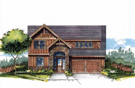 Craftsman Style Home Design Plan: 44-542