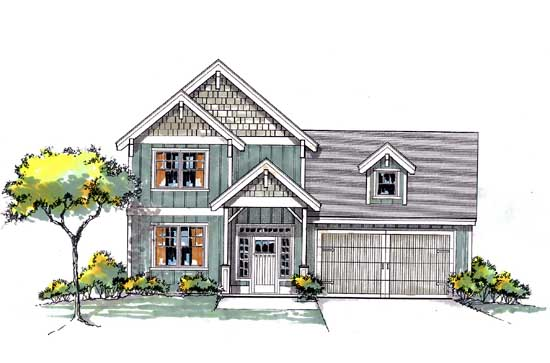 Craftsman Style Home Design Plan: 44-543