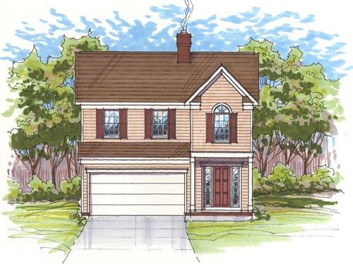 Colonial Style Home Design Plan: 45-101