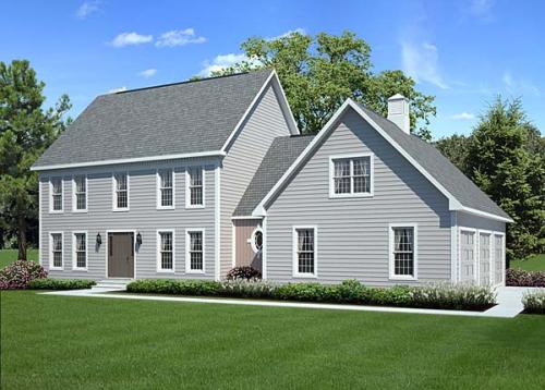 Colonial Style Home Design Plan: 46-562