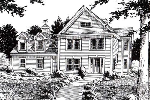 Colonial Style Home Design Plan: 46-570