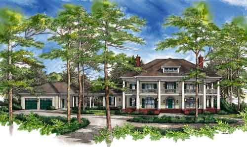 Southern-colonial Style Home Design Plan: 48-116