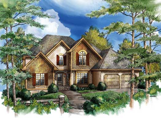 French-country Style Home Design Plan: 48-133