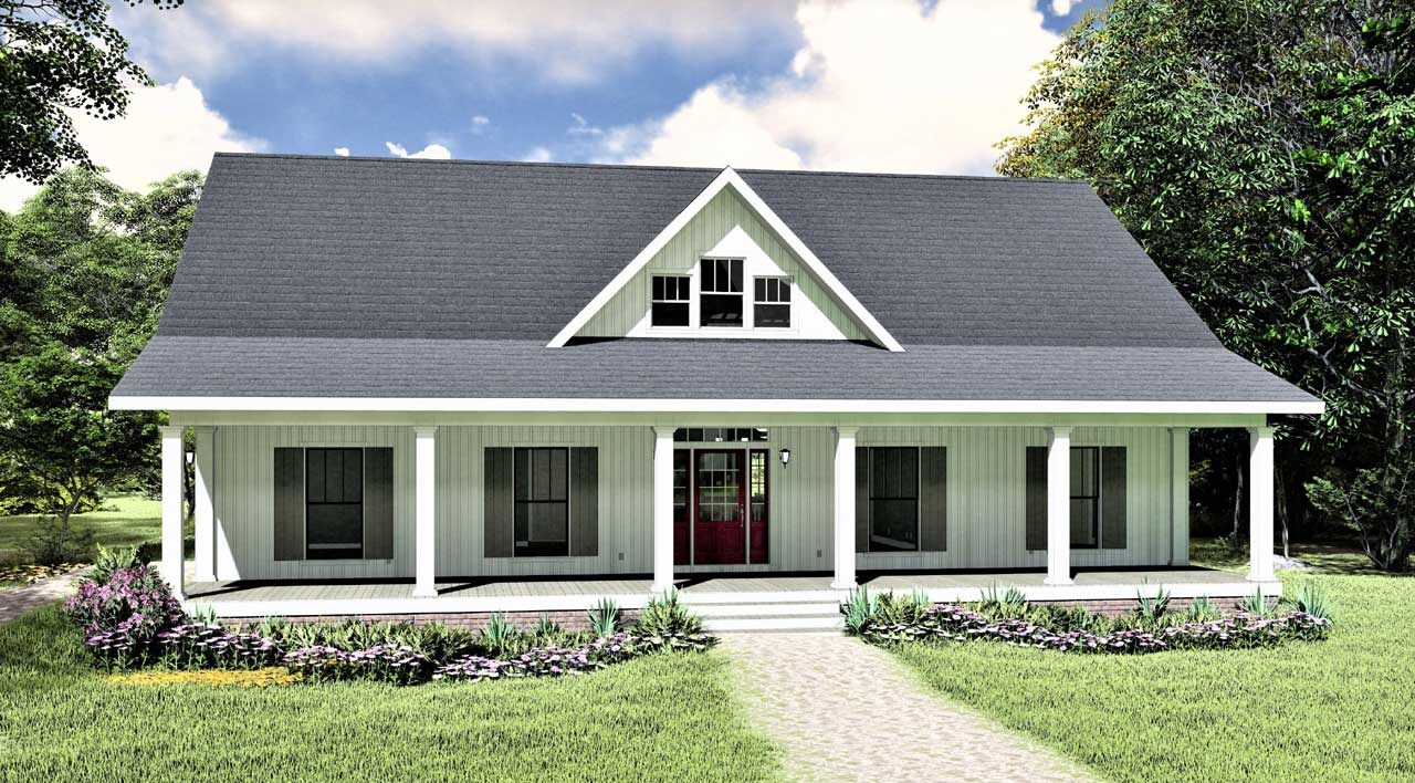 Country Style Home Design Plan: 49-208