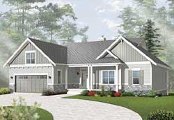 Craftsman Style Home Design Plan: 5-1065