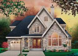 European Style Home Design Plan: 5-1135