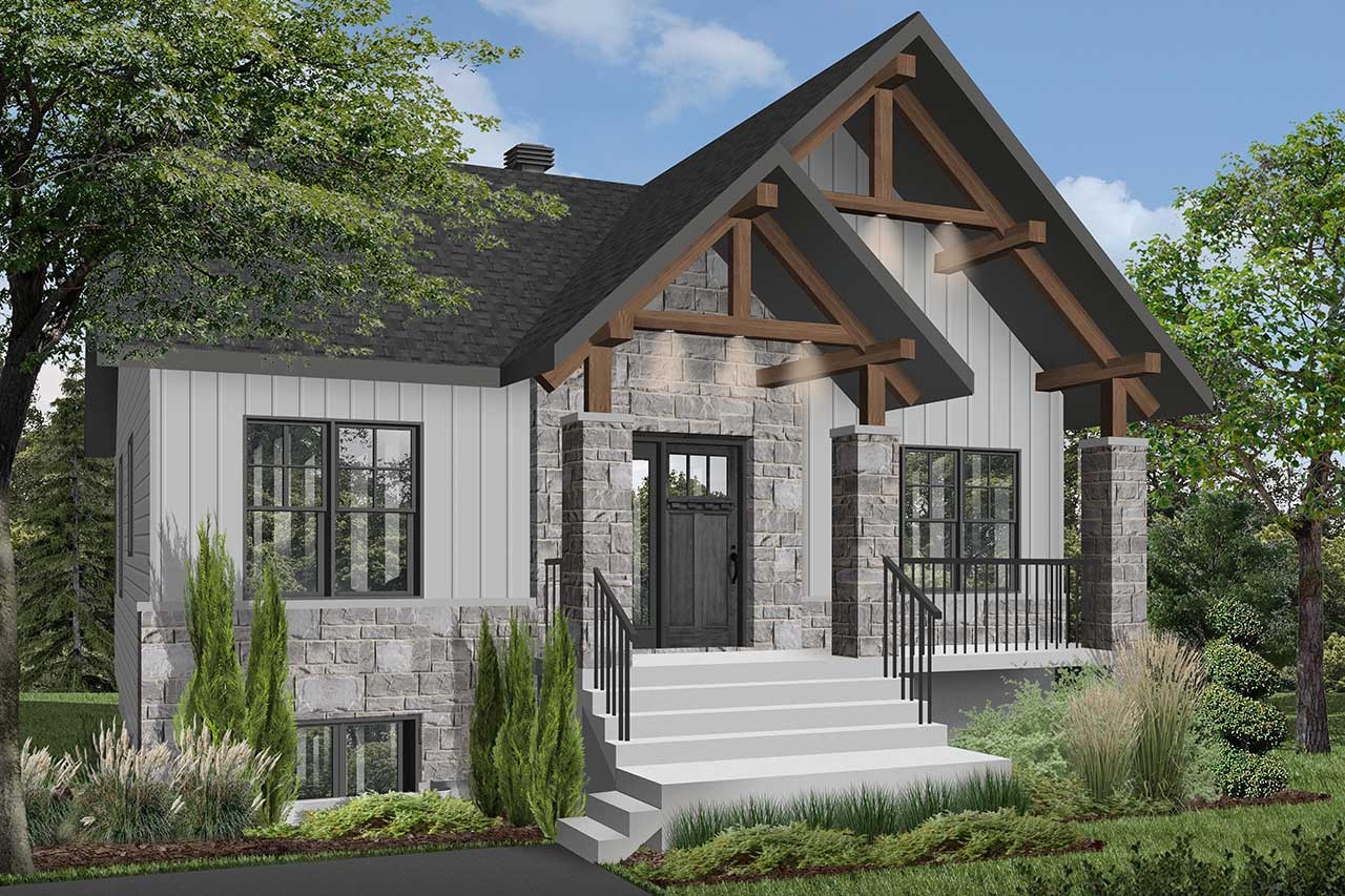 Mountain-rustic House Plan - 2 Bedrooms, 1 Bath, 1020 Sq ...