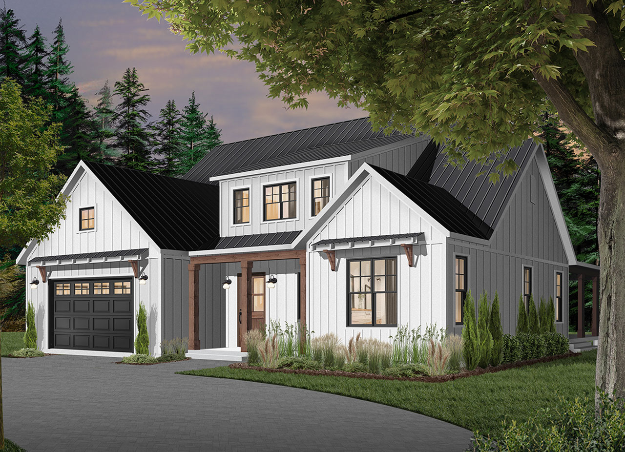 Modern-farmhouse Style Floor Plans Plan: 5-1373
