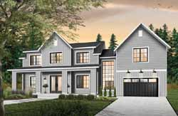 Modern-Farmhouse Style Home Design Plan: 5-1378