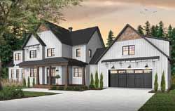 Modern-Farmhouse Style Home Design Plan: 5-1379