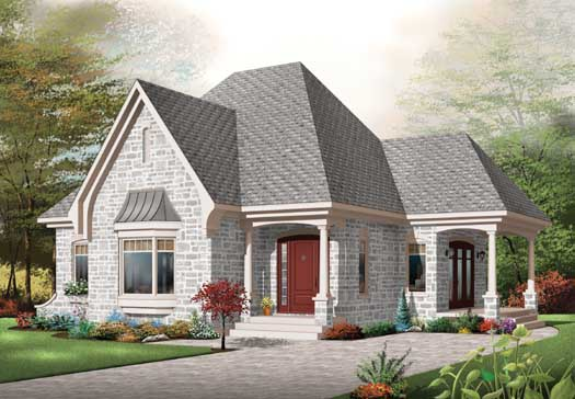 European Style Home Design Plan: 5-173