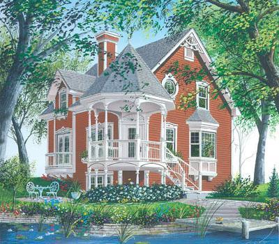 Victorian Style Home Design Plan: 5-264