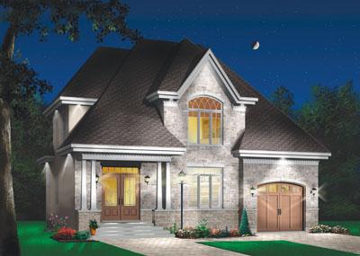 European Style Home Design Plan: 5-294