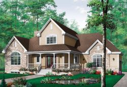 Country Style Home Design Plan: 5-295