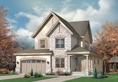 European Style Home Design Plan: 5-299