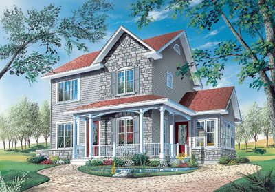 Country Style Home Design Plan: 5-340