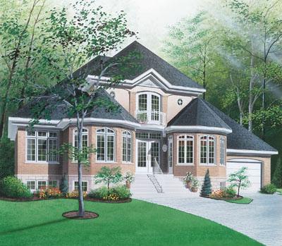 European Style Home Design Plan: 5-388