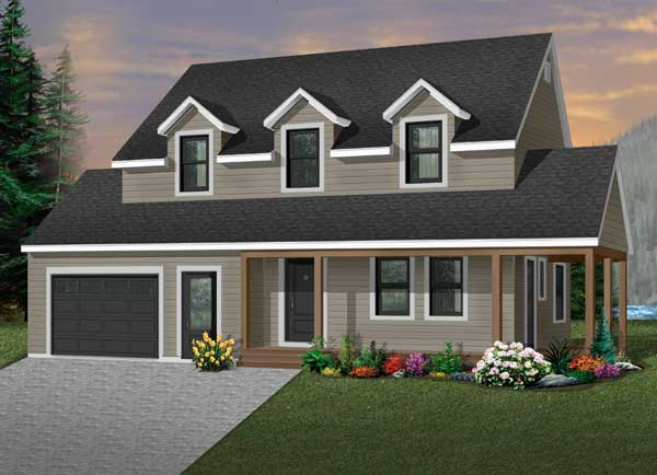 Country Style Home Design Plan: 5-390
