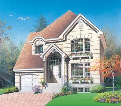 European Style Home Design Plan: 5-423