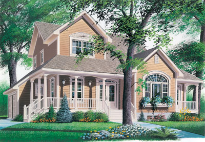 Country Style Floor Plans Plan: 5-437