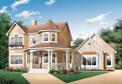 Country Style Home Design Plan: 5-443