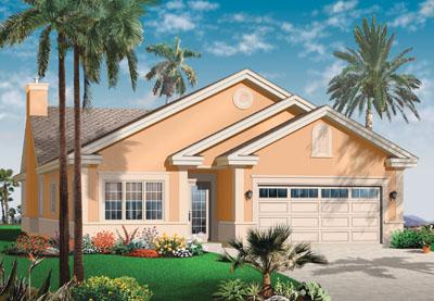 Southwest Style Home Design Plan: 5-595