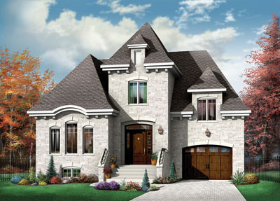 French-country Style Home Design Plan: 5-624