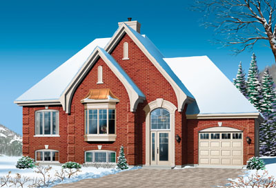 European Style Home Design Plan: 5-625