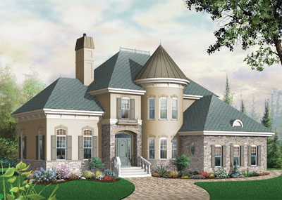 European Style Home Design Plan: 5-629