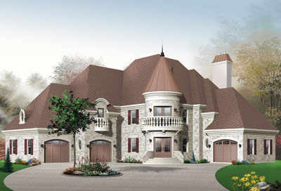 European Style Home Design Plan: 5-636