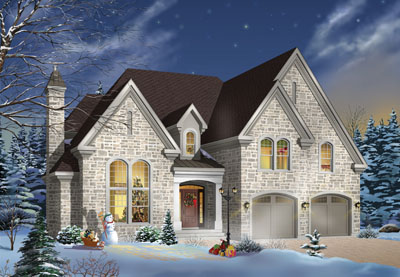 European Style Home Design Plan: 5-637