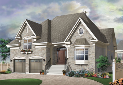 European Style Home Design Plan: 5-644