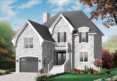 European Style Home Design Plan: 5-659