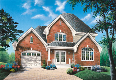 European Style Home Design Plan: 5-691