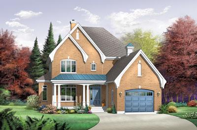 European Style Home Design Plan: 5-696
