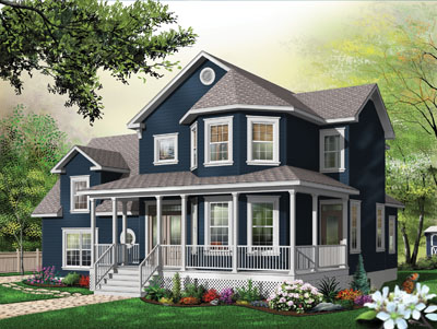 Country Style Home Design Plan: 5-709