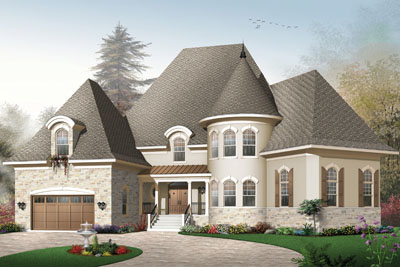 European Style Home Design Plan: 5-712