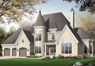 European Style Home Design Plan: 5-715