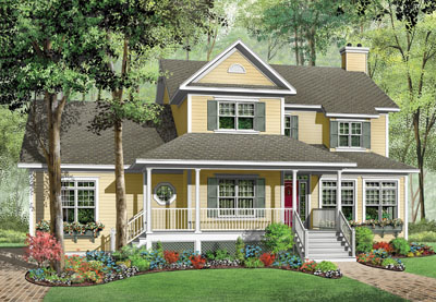 Country Style Home Design Plan: 5-718
