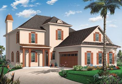 Sunbelt Style Home Design Plan: 5-726