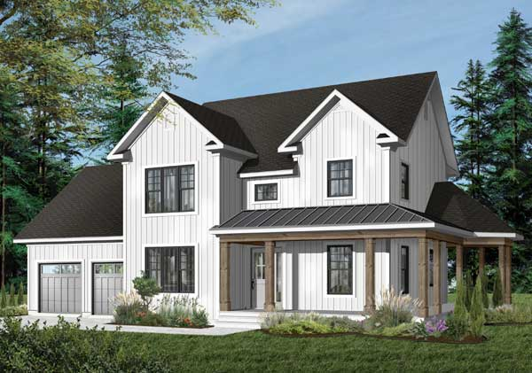 Modern-farmhouse Style Home Design Plan: 5-732